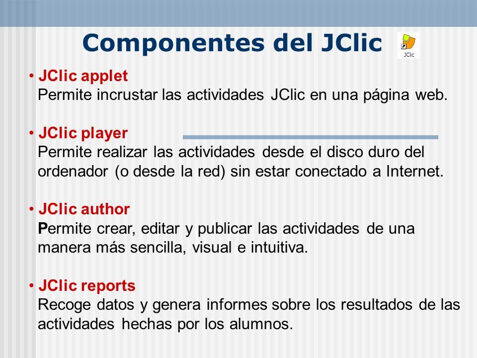 Componentes del JClicJClic applet Permite incrustar las actividades JClic en una página web.