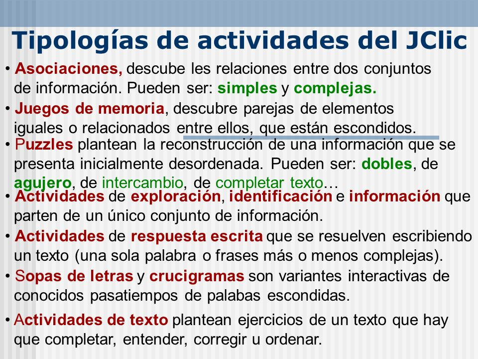 Tipologías de actividades del JClic