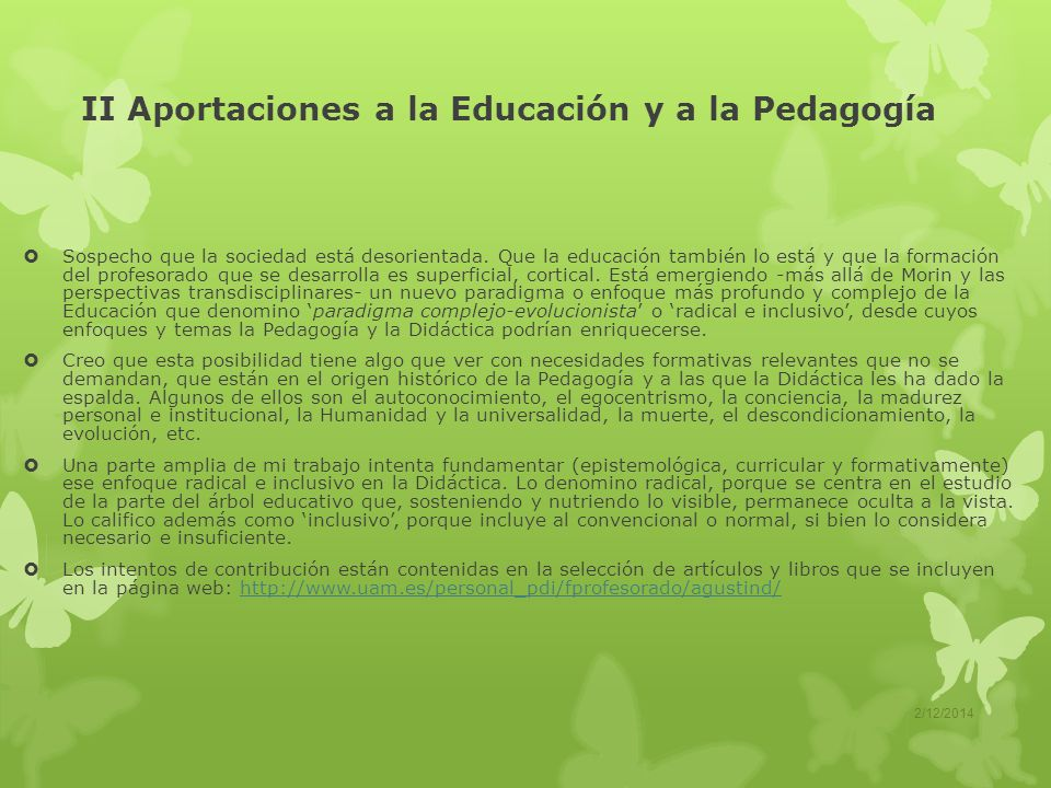 II Aportaciones a la Educación y a la Pedagogía