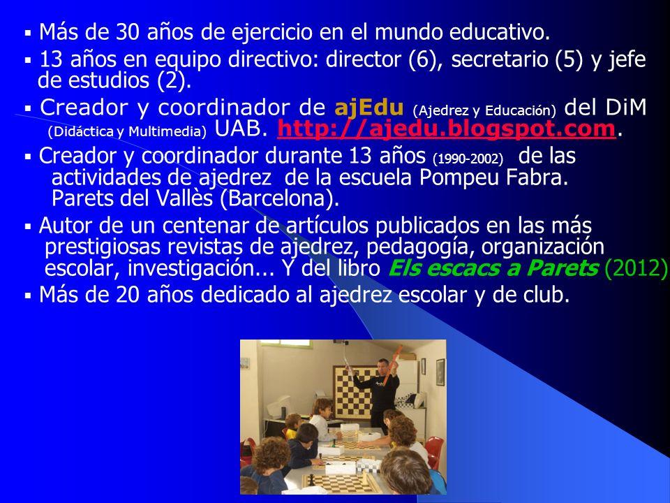 Más de 30 años de ejercicio en el mundo educativo.