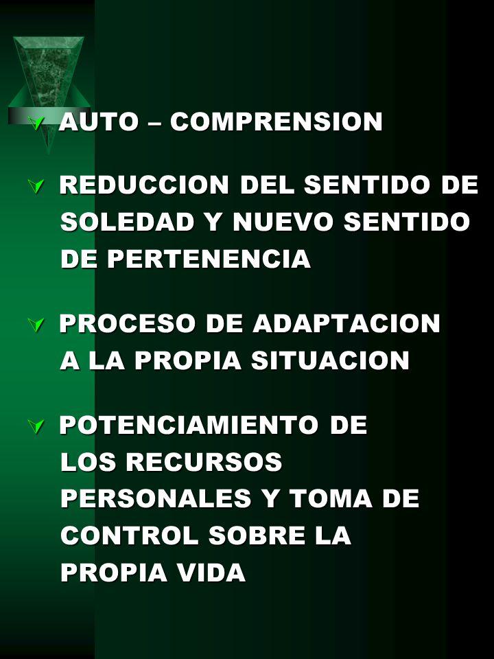 AUTO – COMPRENSION REDUCCION DEL SENTIDO DE. SOLEDAD Y NUEVO SENTIDO. DE PERTENENCIA. PROCESO DE ADAPTACION.