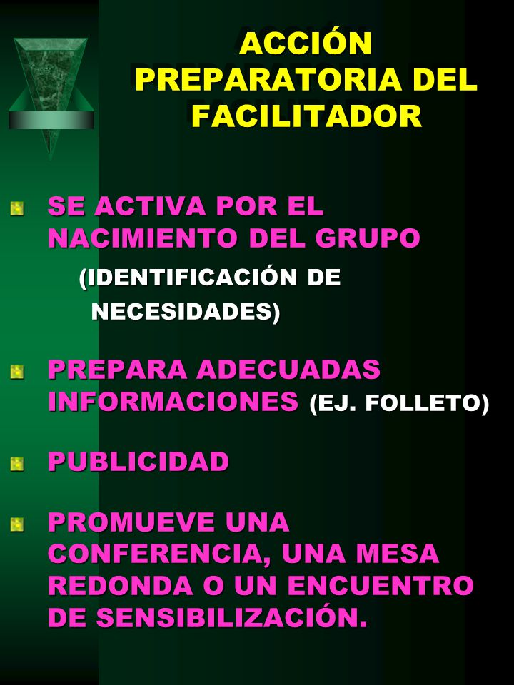 ACCIÓN PREPARATORIA DEL FACILITADOR