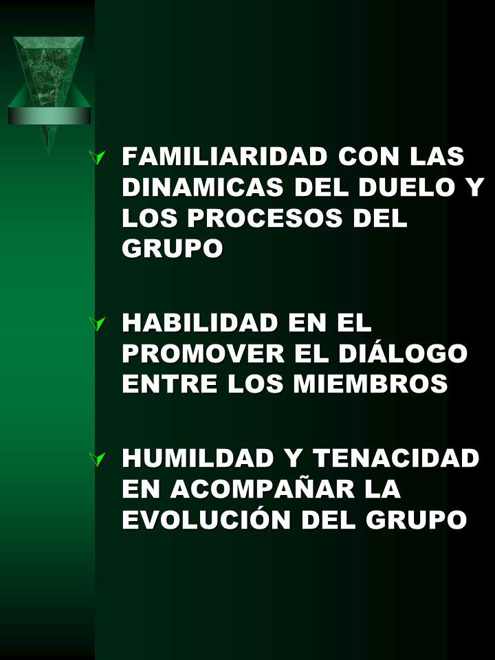 FAMILIARIDAD CON LAS DINAMICAS DEL DUELO Y LOS PROCESOS DEL GRUPO