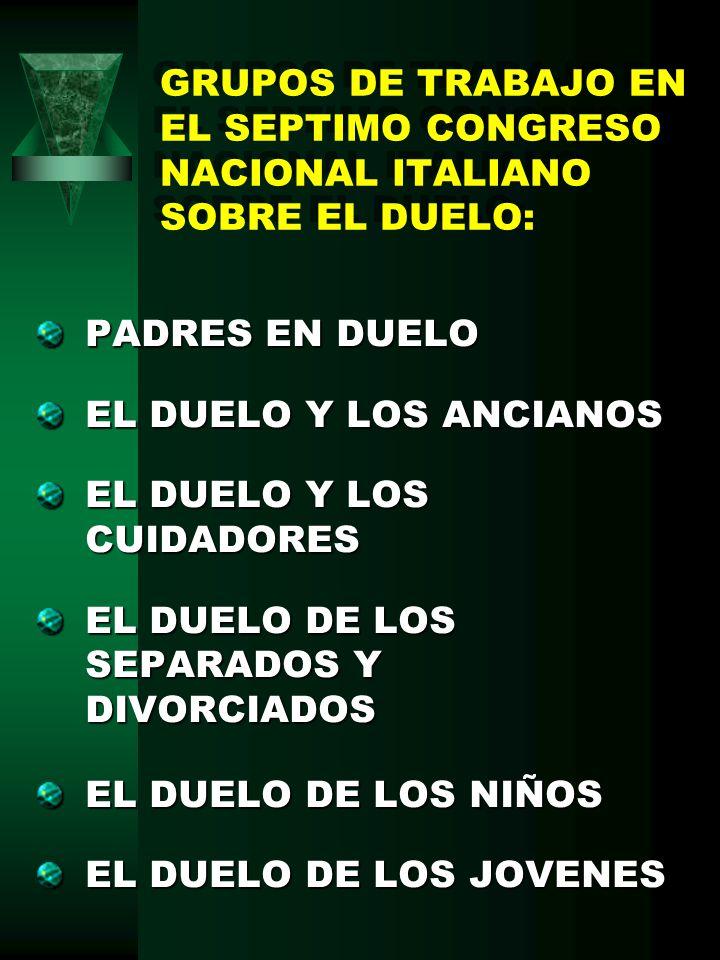 GRUPOS DE TRABAJO EN EL SEPTIMO CONGRESO NACIONAL ITALIANO SOBRE EL DUELO: