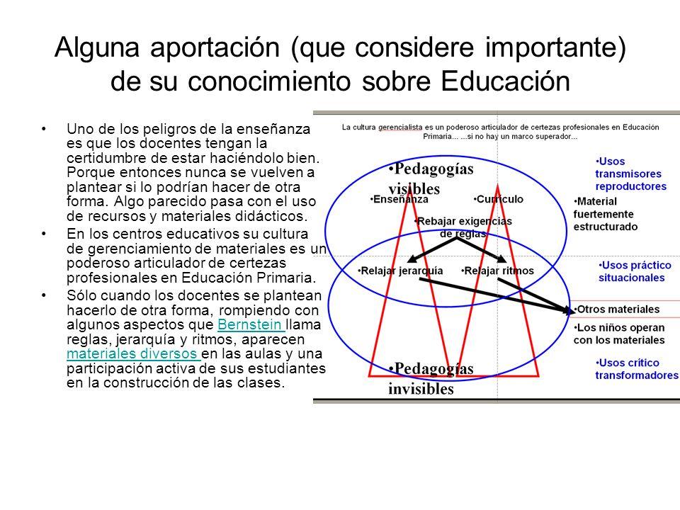 Alguna aportación (que considere importante) de su conocimiento sobre Educación