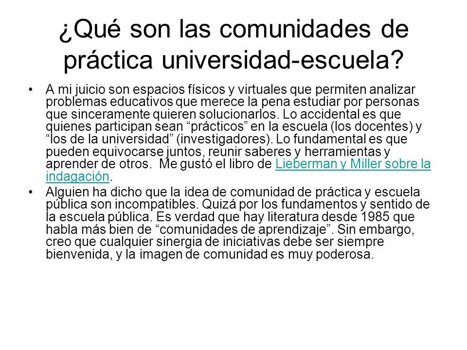 ¿Qué son las comunidades de práctica universidad-escuela