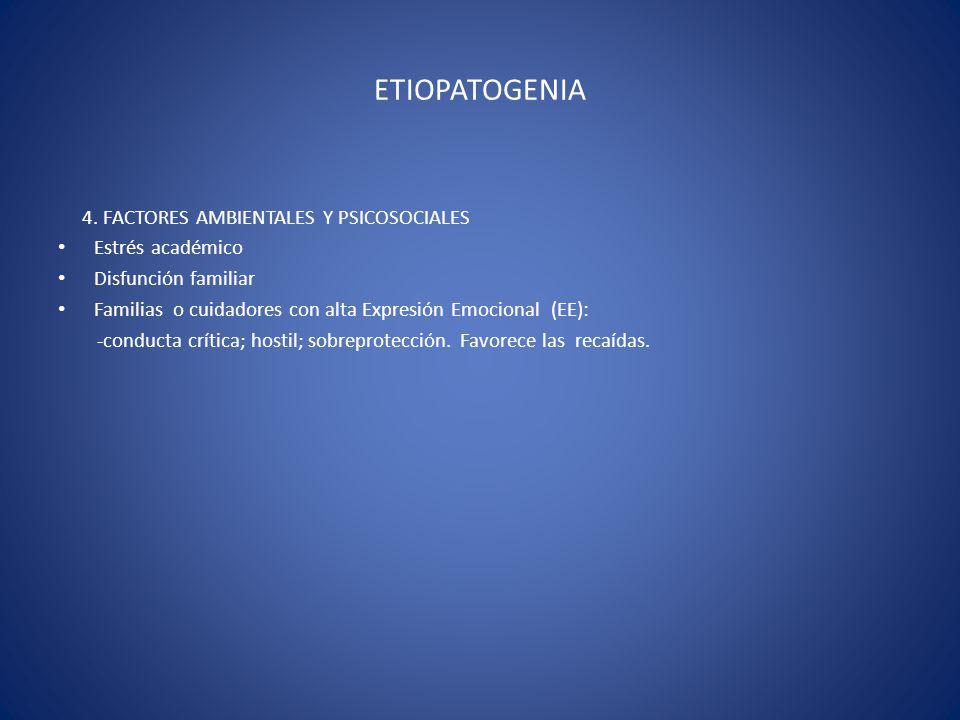 ETIOPATOGENIA 4. FACTORES AMBIENTALES Y PSICOSOCIALES Estrés académico