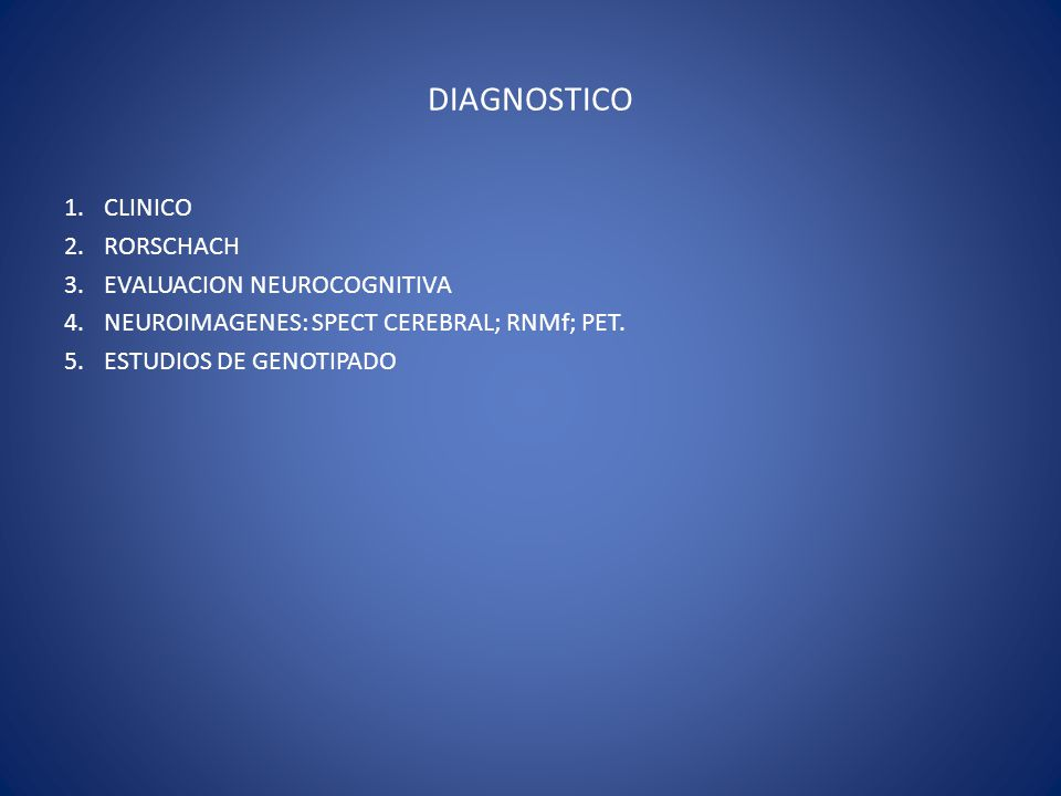 DIAGNOSTICO CLINICO RORSCHACH EVALUACION NEUROCOGNITIVA