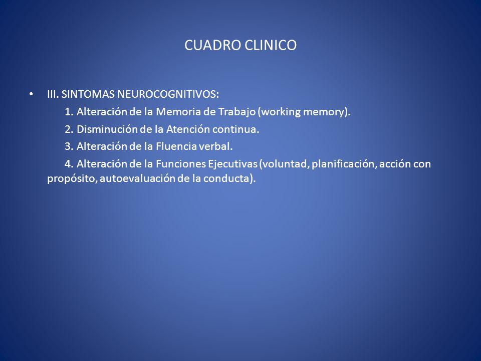CUADRO CLINICO III. SINTOMAS NEUROCOGNITIVOS: