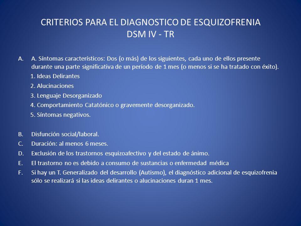CRITERIOS PARA EL DIAGNOSTICO DE ESQUIZOFRENIA DSM IV - TR