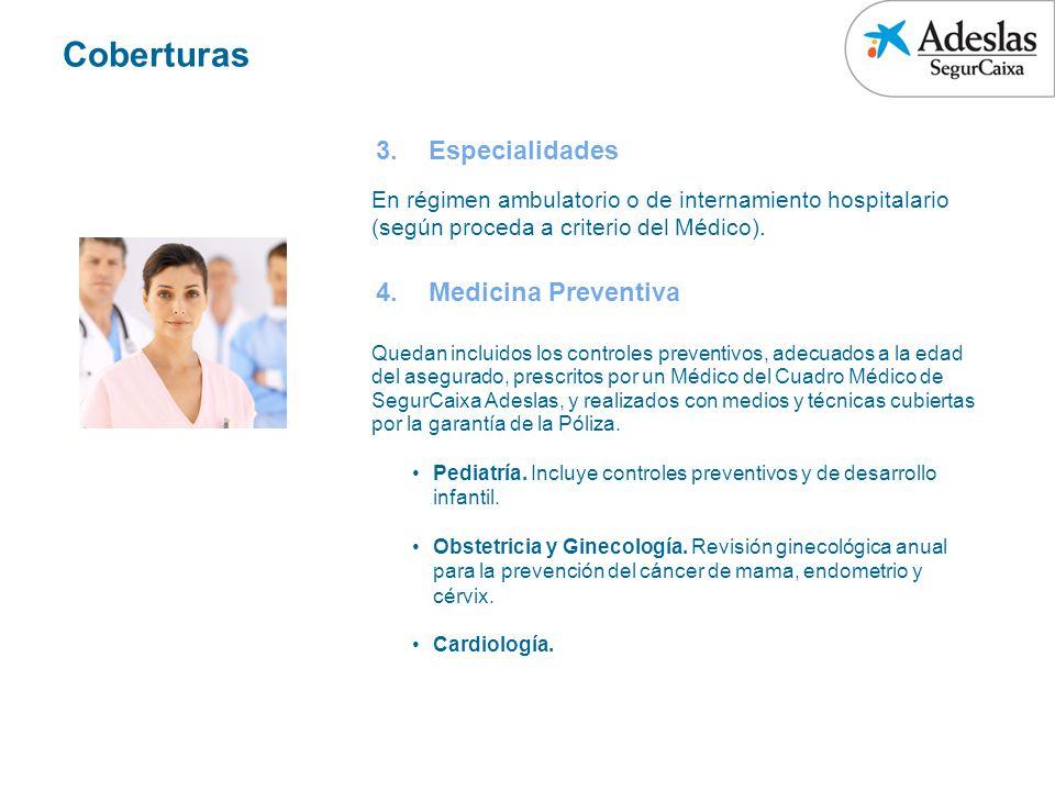 Coberturas Especialidades Medicina Preventiva