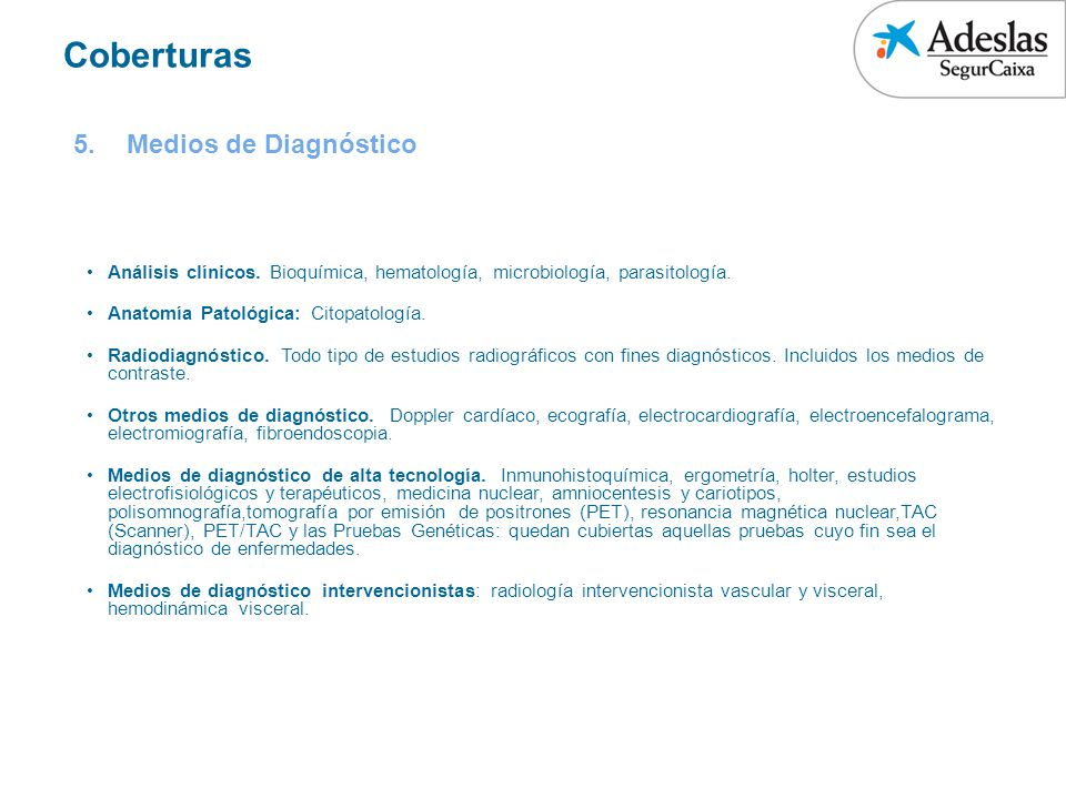 Coberturas Medios de Diagnóstico