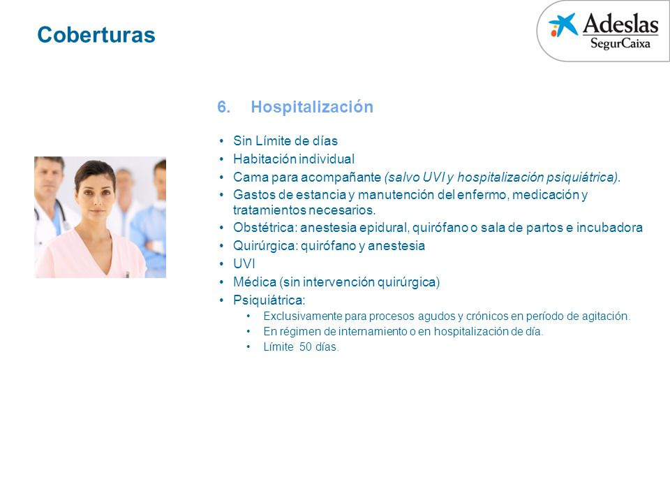Coberturas Hospitalización Sin Límite de días Habitación individual