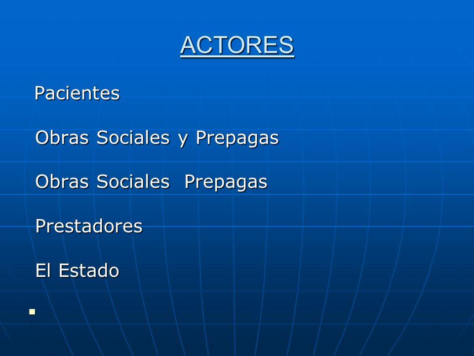 ACTORES Obras Sociales y Prepagas Obras Sociales Prepagas Prestadores