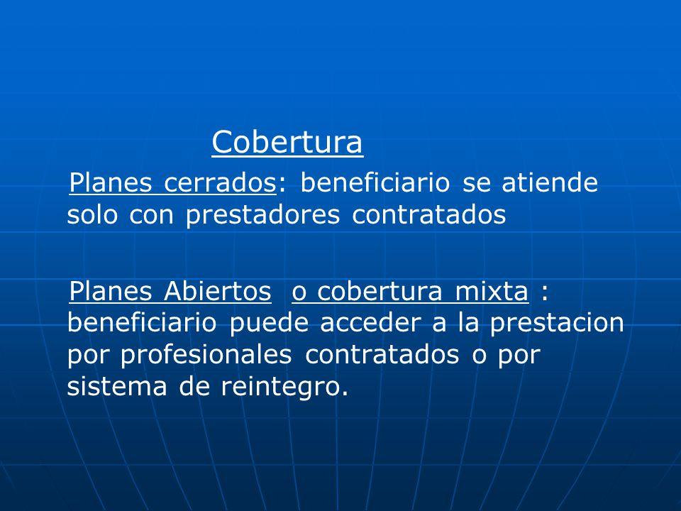 Cobertura Planes cerrados: beneficiario se atiende solo con prestadores contratados.