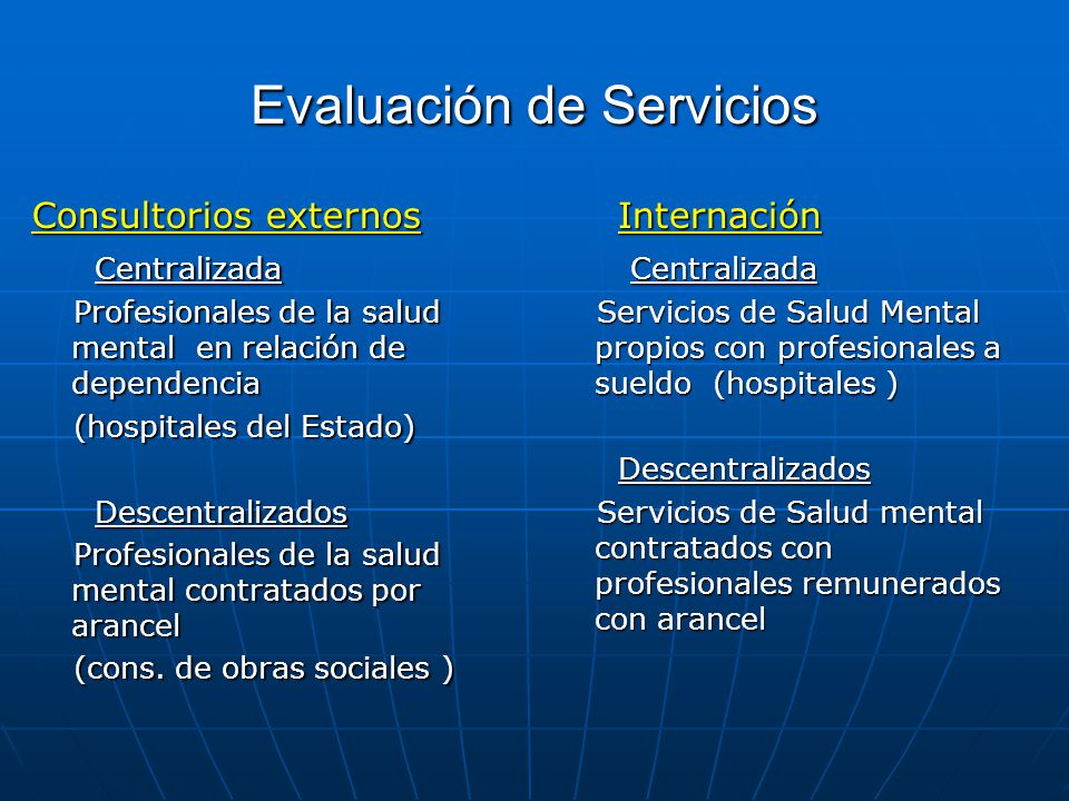 Evaluación de Servicios