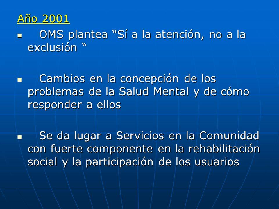 Año 2001 OMS plantea Sí a la atención, no a la exclusión Cambios en la concepción de los problemas de la Salud Mental y de cómo responder a ellos.