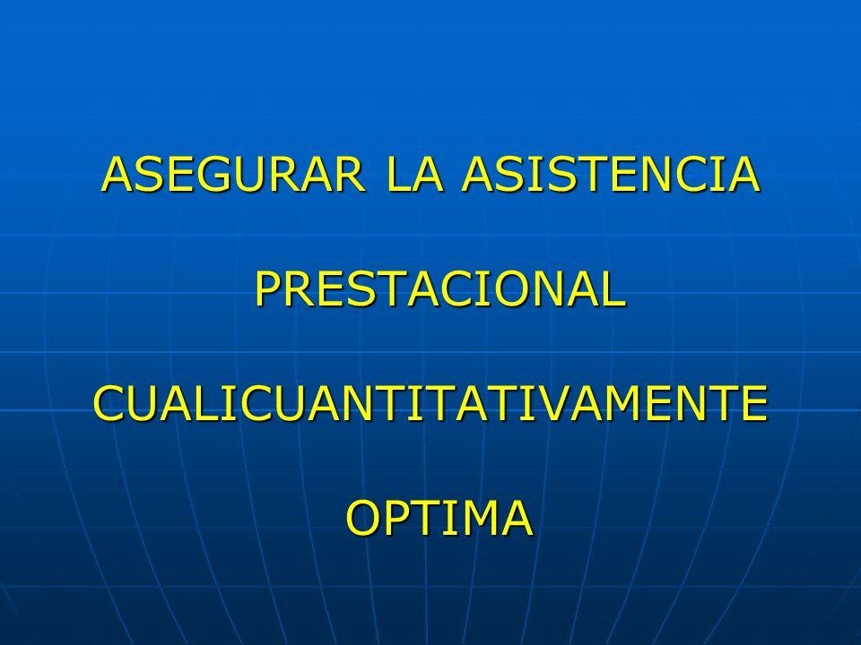 ASEGURAR LA ASISTENCIA PRESTACIONAL CUALICUANTITATIVAMENTE OPTIMA
