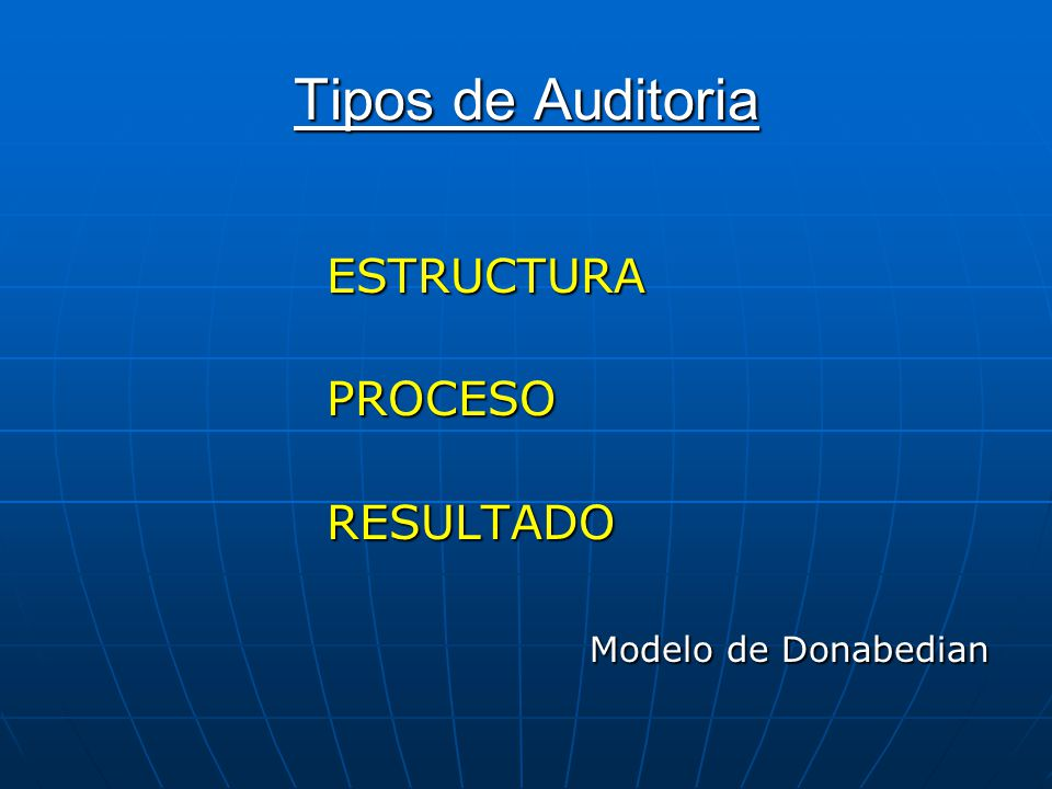 Tipos de Auditoria ESTRUCTURA PROCESO RESULTADO Modelo de Donabedian