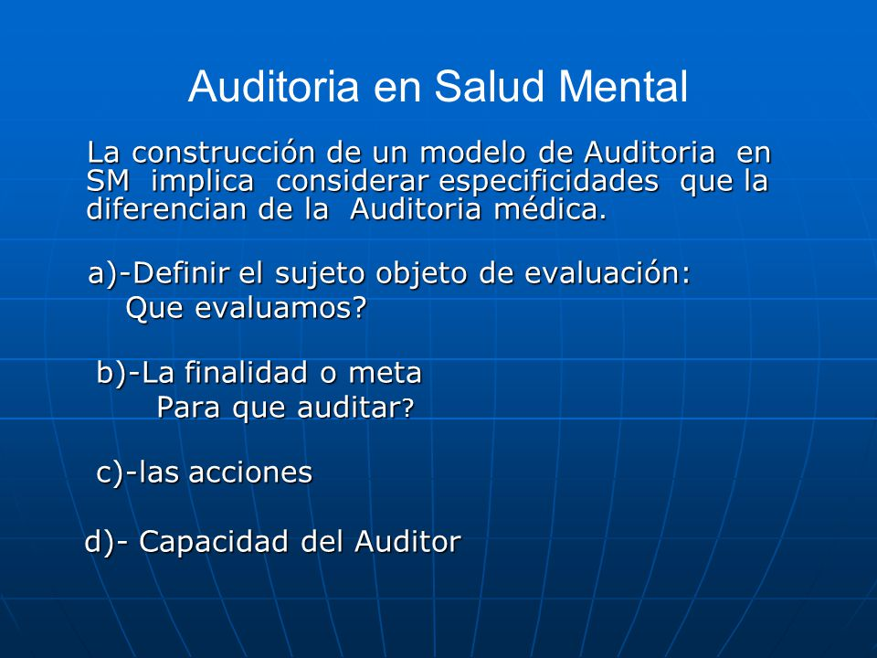 Auditoria en Salud Mental