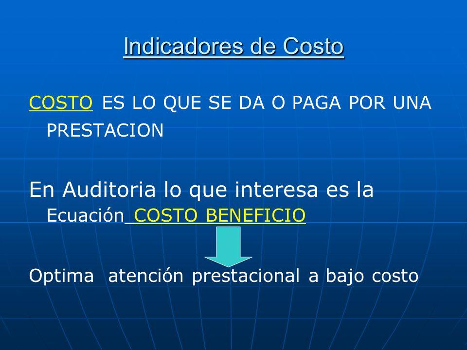 Indicadores de Costo COSTO ES LO QUE SE DA O PAGA POR UNA PRESTACION. En Auditoria lo que interesa es la Ecuación COSTO BENEFICIO.
