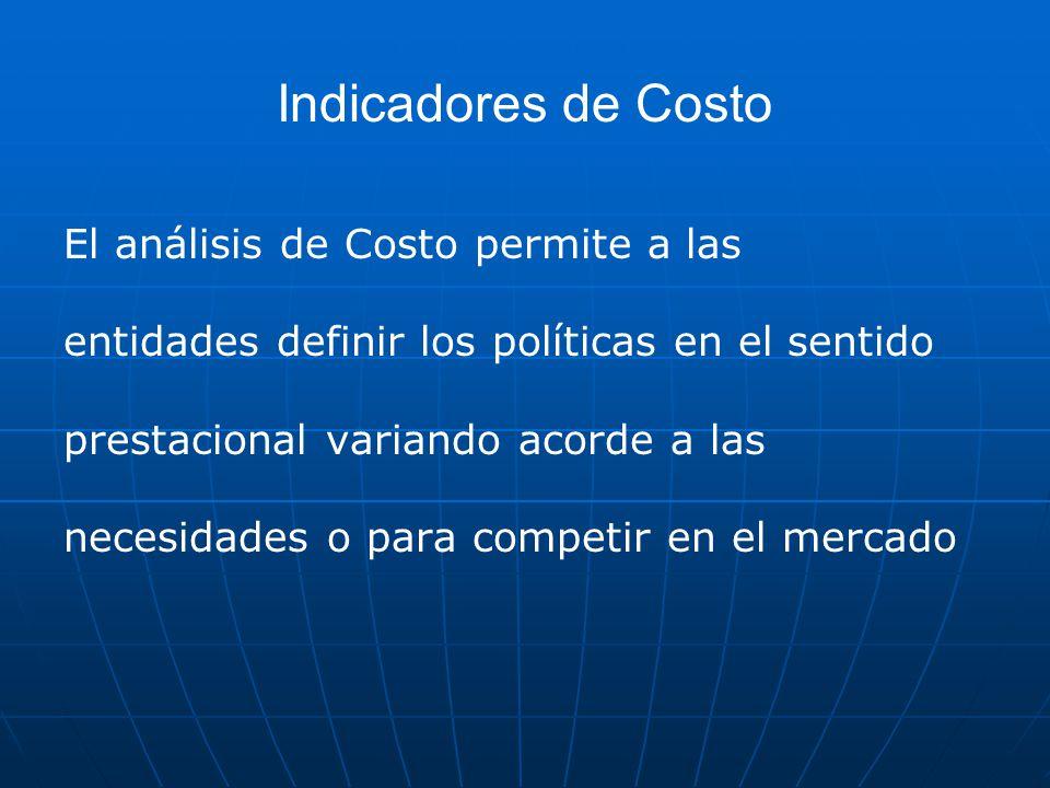 Indicadores de Costo El análisis de Costo permite a las