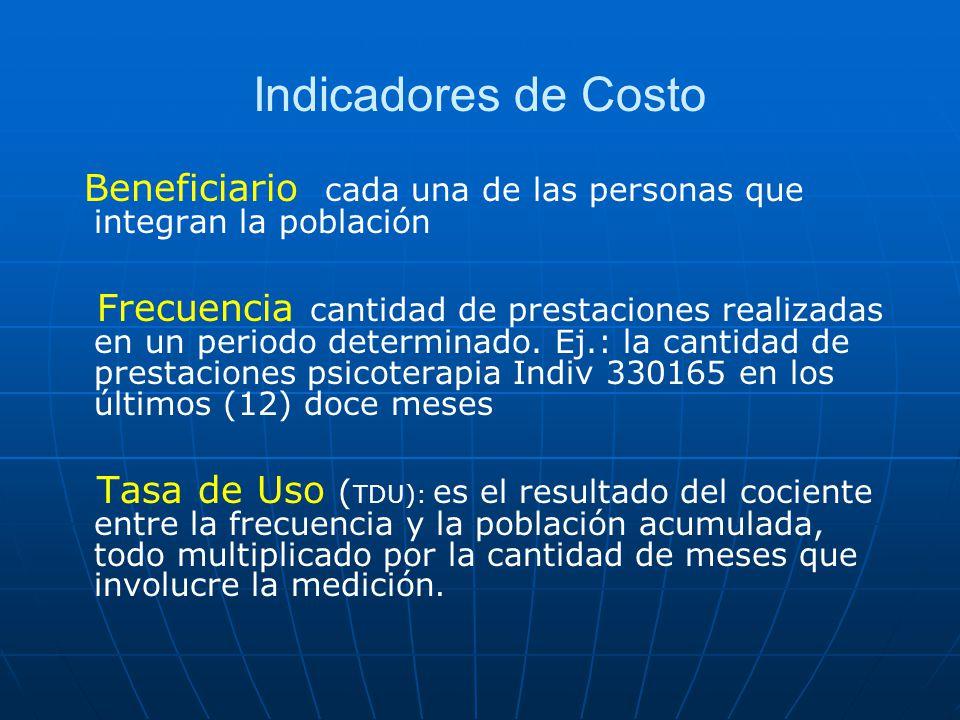 Indicadores de Costo Beneficiario cada una de las personas que integran la población.