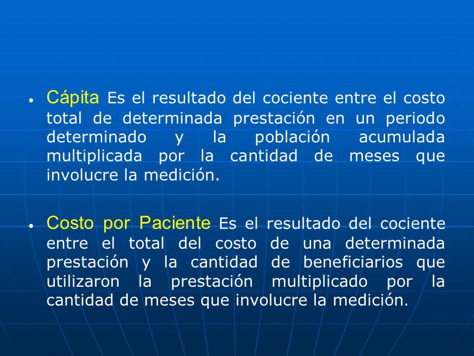 Cápita Es el resultado del cociente entre el costo total de determinada prestación en un periodo determinado y la población acumulada multiplicada por la cantidad de meses que involucre la medición.