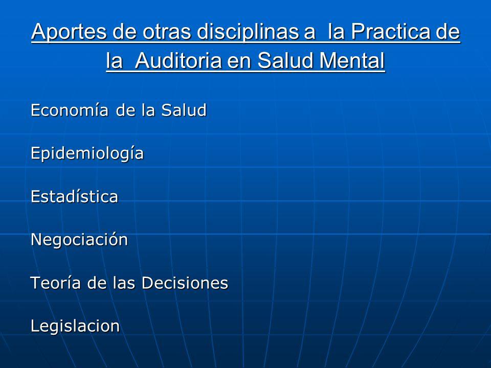 Aportes de otras disciplinas a la Practica de la Auditoria en Salud Mental