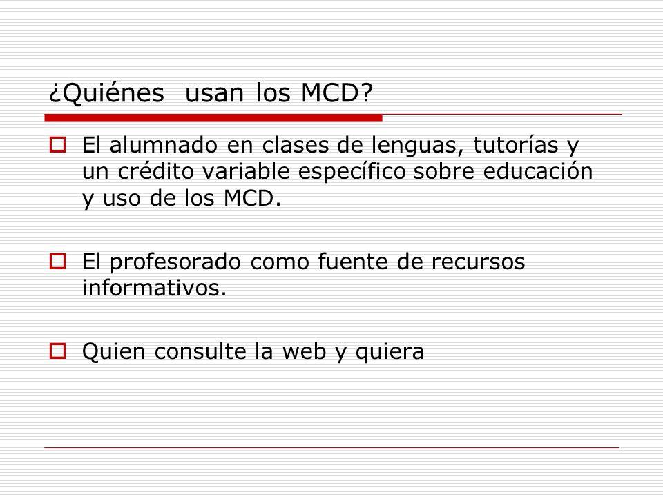 ¿Quiénes usan los MCD El alumnado en clases de lenguas, tutorías y un crédito variable específico sobre educación y uso de los MCD.