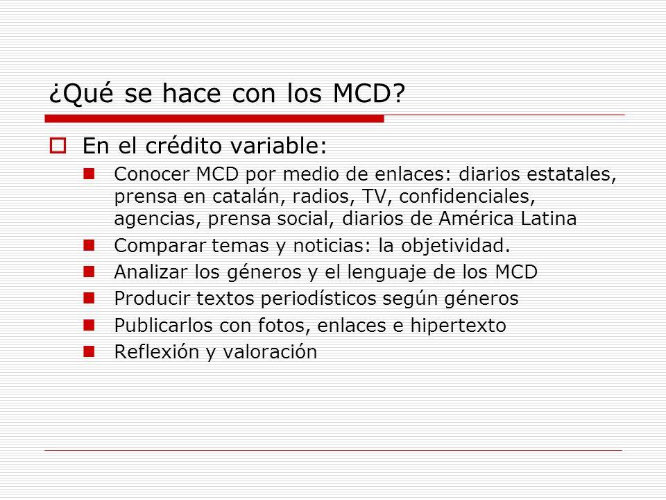 ¿Qué se hace con los MCD En el crédito variable: