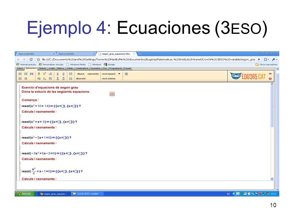 Ejemplo 4: Ecuaciones (3ESO)