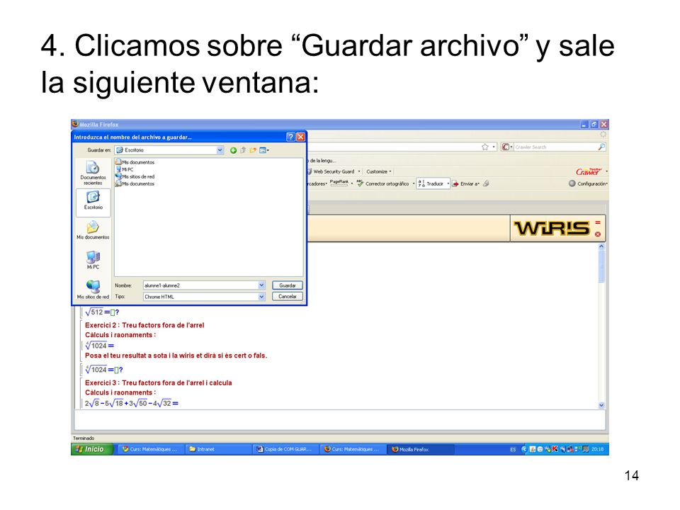 4. Clicamos sobre Guardar archivo y sale la siguiente ventana:
