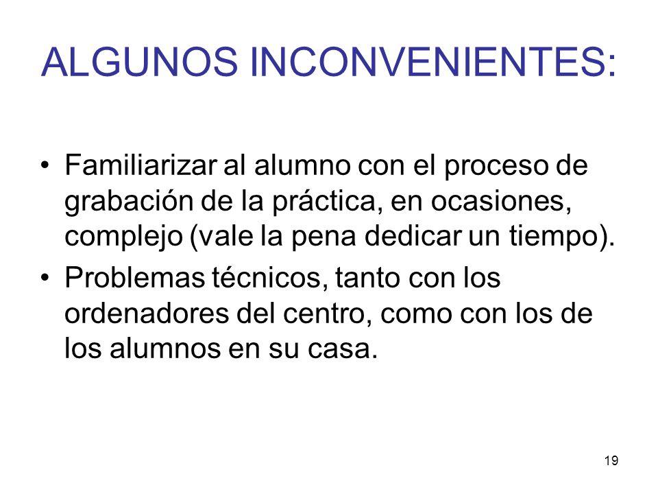 ALGUNOS INCONVENIENTES: