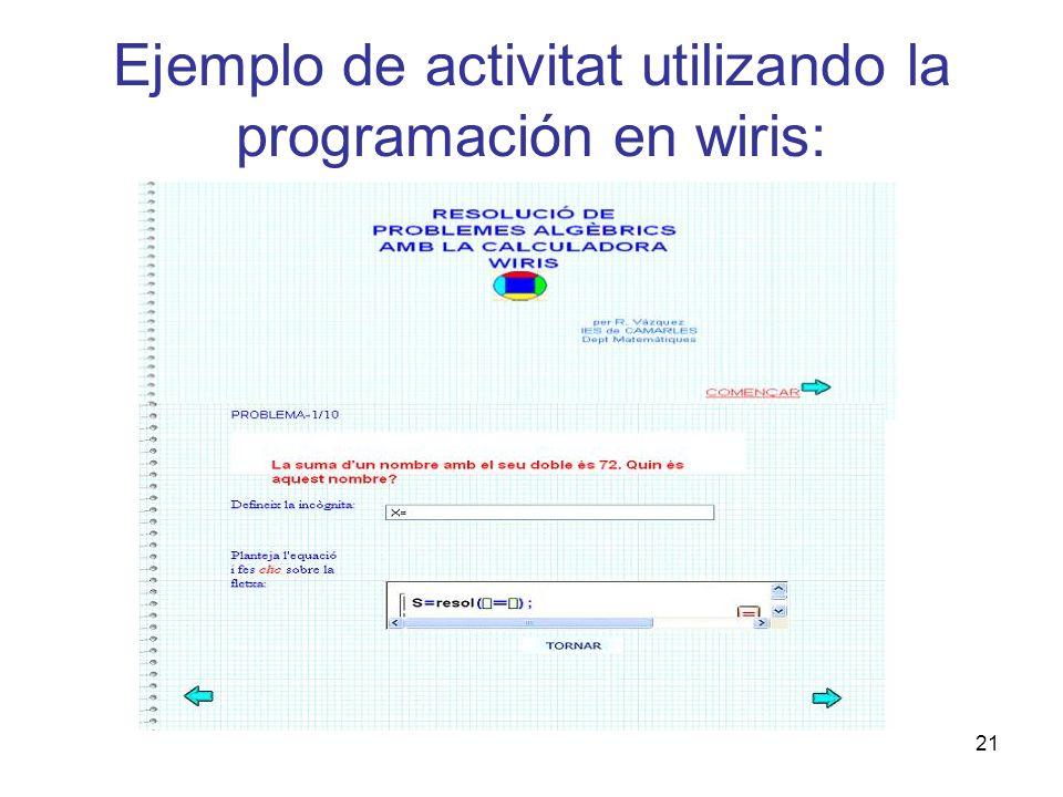 Ejemplo de activitat utilizando la programación en wiris: