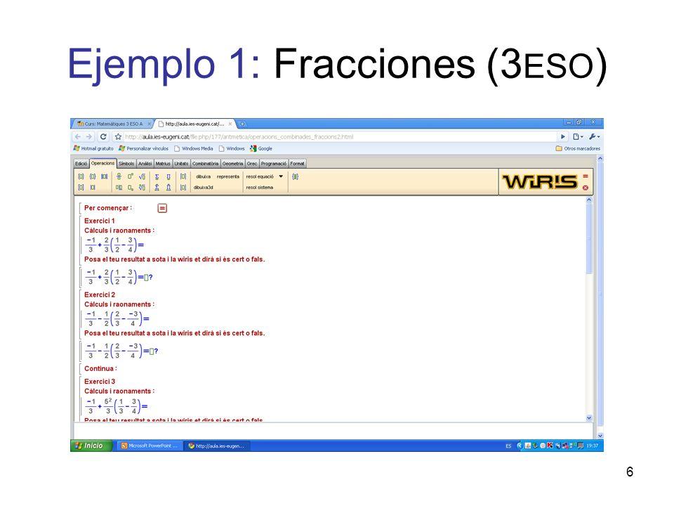 Ejemplo 1: Fracciones (3ESO)