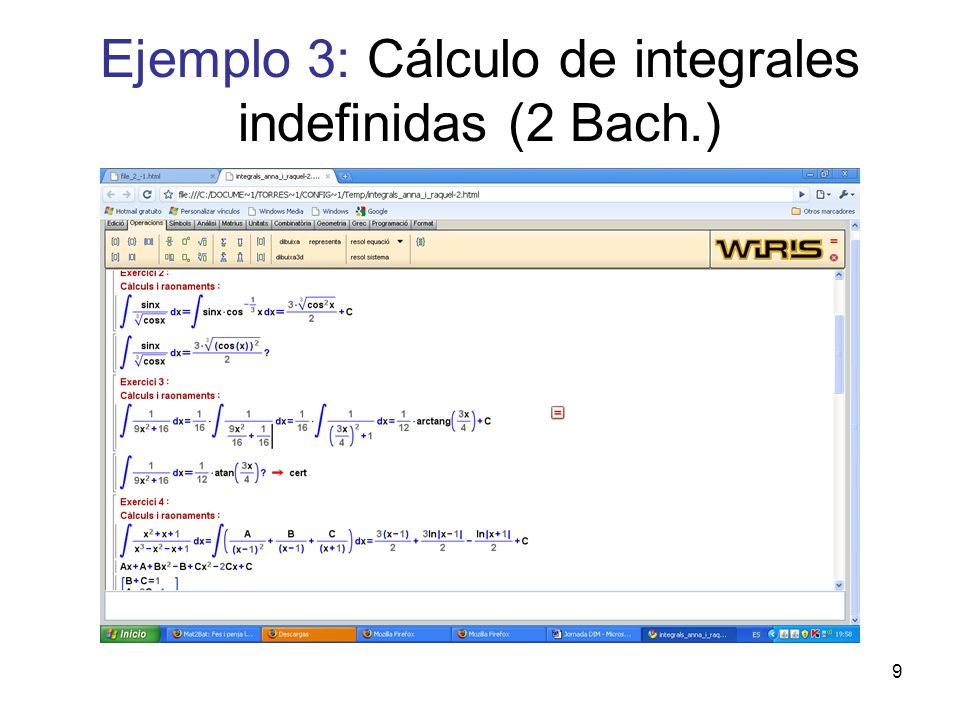 Ejemplo 3: Cálculo de integrales indefinidas (2 Bach.)