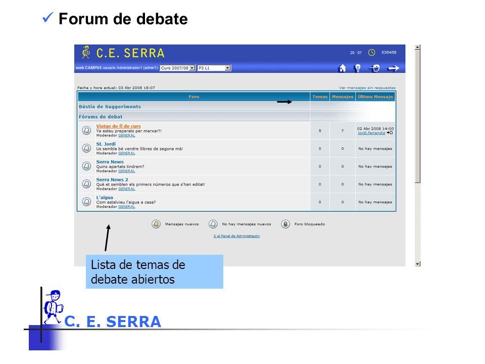  Forum de debate Lista de temas de debate abiertos