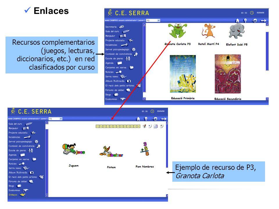  Enlaces Recursos complementarios (juegos, lecturas, diccionarios, etc.) en red clasificados por curso.