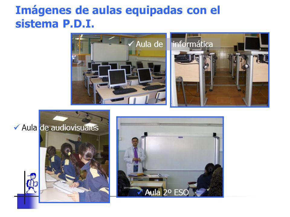 Imágenes de aulas equipadas con el sistema P.D.I.