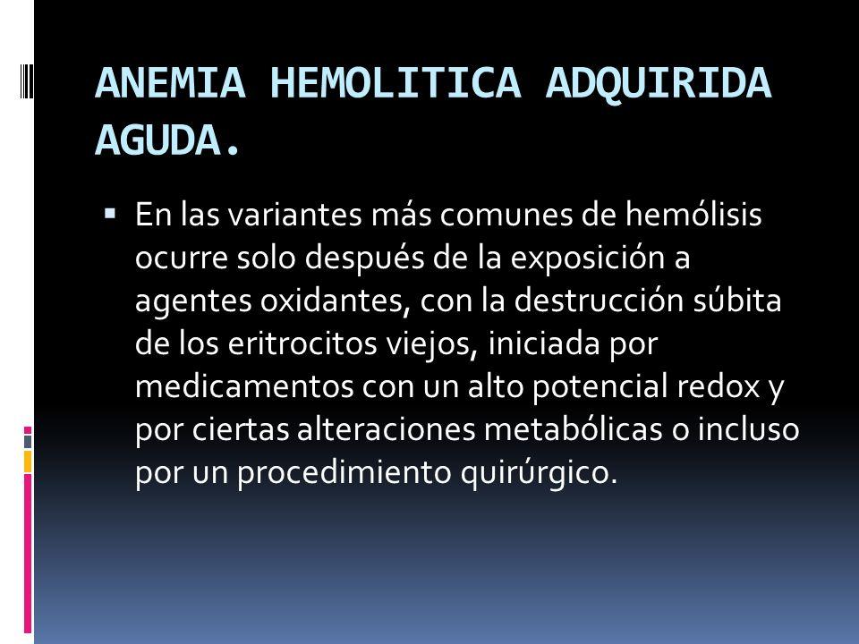 ANEMIA HEMOLITICA ADQUIRIDA AGUDA.