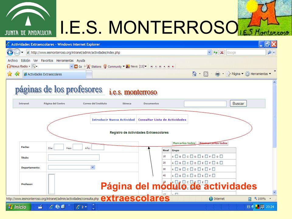 I.E.S. MONTERROSO Página del módulo de actividades extraescolares