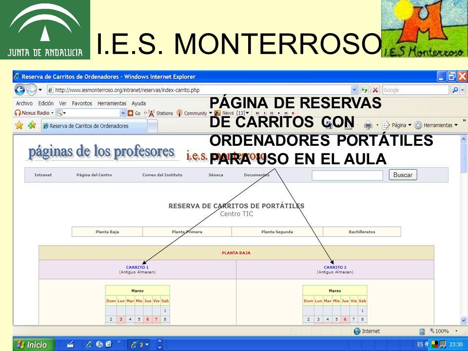 I.E.S. MONTERROSO PÁGINA DE RESERVAS DE CARRITOS CON