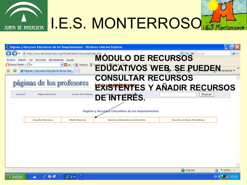 I.E.S. MONTERROSO MÓDULO DE RECURSOS EDUCATIVOS WEB. SE PUEDEN
