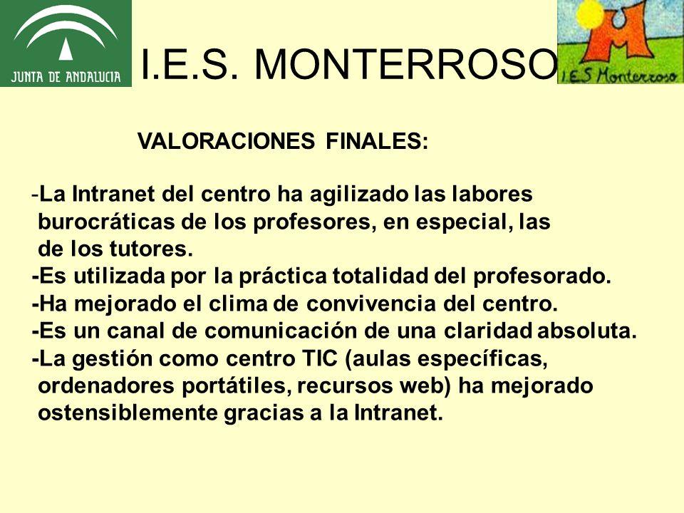 I.E.S. MONTERROSO VALORACIONES FINALES:
