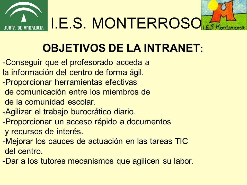 I.E.S. MONTERROSO OBJETIVOS DE LA INTRANET: