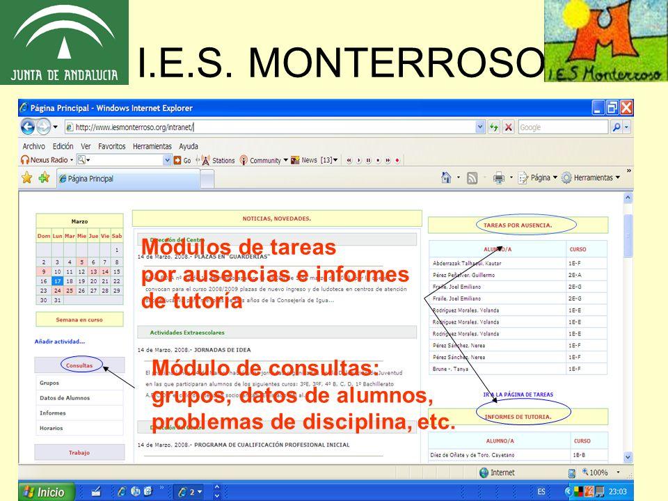 I.E.S. MONTERROSO Módulos de tareas por ausencias e informes