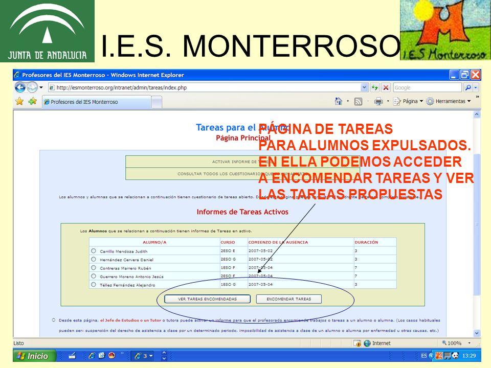 I.E.S. MONTERROSO PÁGINA DE TAREAS PARA ALUMNOS EXPULSADOS.