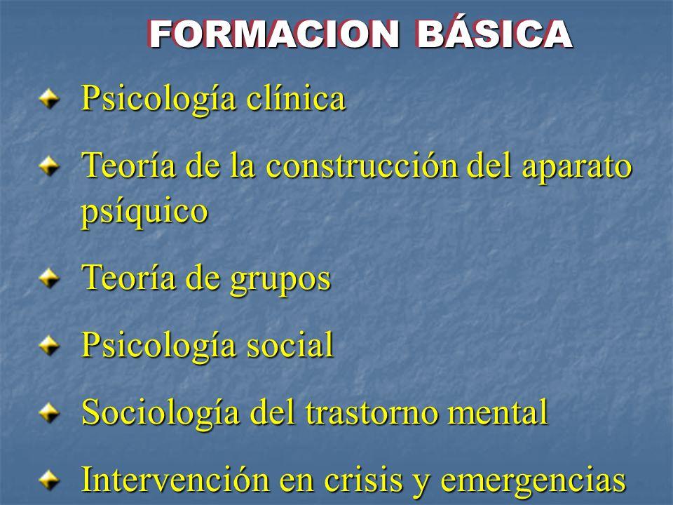 FORMACION BÁSICA Psicología clínica. Teoría de la construcción del aparato psíquico. Teoría de grupos.