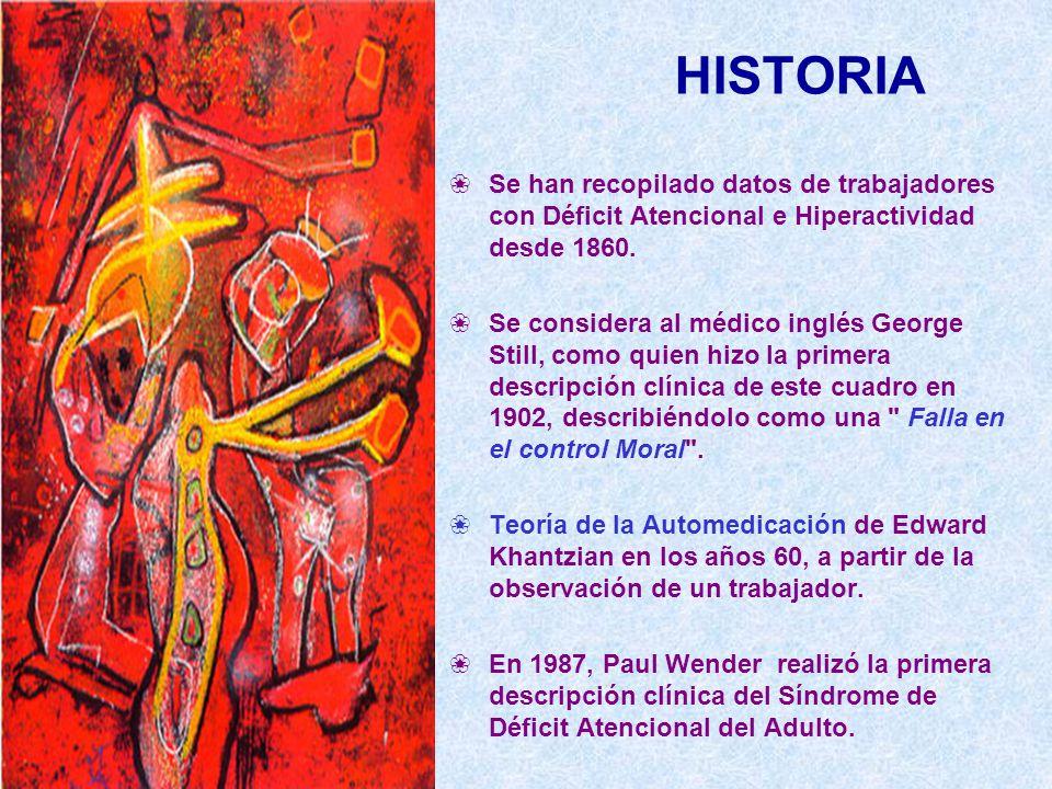 HISTORIA Se han recopilado datos de trabajadores con Déficit Atencional e Hiperactividad desde 1860.